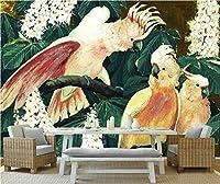 Mbwlkj 3D カスタムウォールペーパーの家の装飾のオウムの枝写真壁画ペインティングエンボス加工されたテレビ番組の背景 3 リビングルーム用の壁紙-150Cmx100Cm