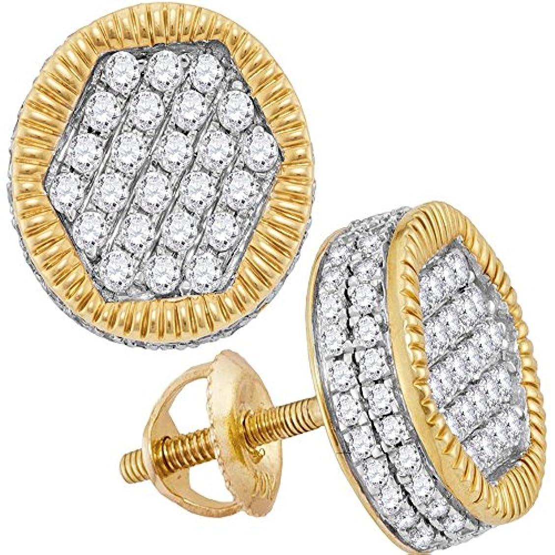 ペットオセアニア結婚するLCD メンズ 10カラットイエローゴールドラウンドダイヤモンドサークル3Dクラスタスタッドピアス1-1/10 Cttw