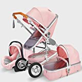 XZ&PENG Pram, Portable Baby Stroller 3 in 1 Infant Pushchairs for Baby, Multi-Functional Seat, Reclining Lightweight Folding,