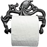Decorative Cast Iron Octopus Toilet Paper Roll Holder – Wall Mounted Octopus Décor for Bathroom – Kraken, Nautical Bathroom A