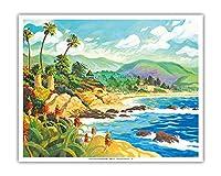 ラグナビーチとの愛 - カリフォルニア - シーサイドオーシャンビュー - オリジナルの水彩画からのもの によって作成された ロビン アルトマン - アートポスター - 41cm x 51cm