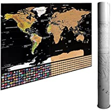 Scratch Off World Map Poster & Travel Map by Ignite Wander   82.5 x 59.5cm Gold Foil Travel Map   Track & Plan Your Adventures Today