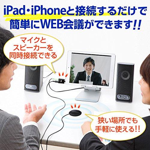 サンワダイレクト iPhone・iPad向けWEB会議用マイクアダプタ Skype FaceTime 対応 音声分配 400-MC008