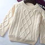 【YW】女の子男の子 ズ ベビー キッズ ジュニア 長袖 お出かけ ニットカーディガン セーター 裏起毛 遊び着 通学 普段着 通園 セーター 4種の色80-160cm (100cm, 白い)