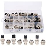 Hilitchi 40-Pieces 2 3 4 5 Pin 16mm Thread Male Female Panel Metal Aviation Wire Wire Connector Plug Assortment Kit (2 Pin /