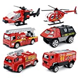 UU TOY おもちゃ ミニカー 1/87 消防自動車両 6台セット 合金製 はしご付き消防車 消防車コレクション 緊急救援車両 モデルカー