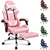ALFORDSON Gaming Chair Racing Chair Executive Sport Office Chair with Footrest PU Leather Armrest Headrest Home Chair in Pink