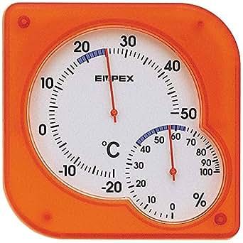 エンペックス気象計 温度湿度計 シュクレmidi温湿度計 日本製 クリアオレンジ TM-5604