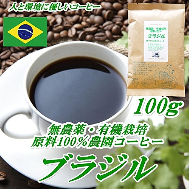 珈琲屋ほっと 無農薬栽培ブラジル 100g 無農薬?有機栽培原料100%コーヒー 豆のまま
