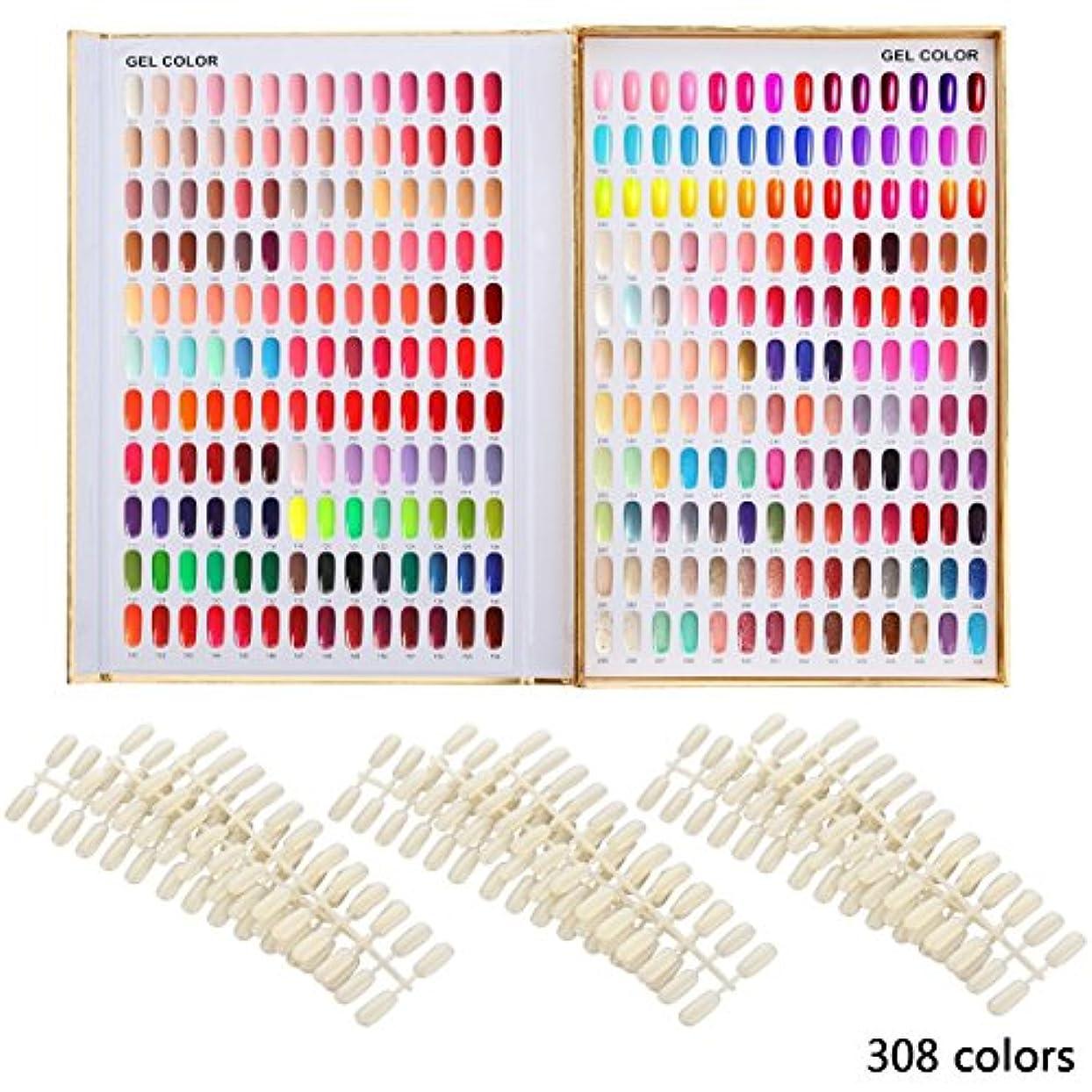 提供された敬の念日曜日カラーチャート ブック ネイルマニキュアカラー色見本 120色/216色/308色 サンプル帳/色見本帳 ゴールデン (308)