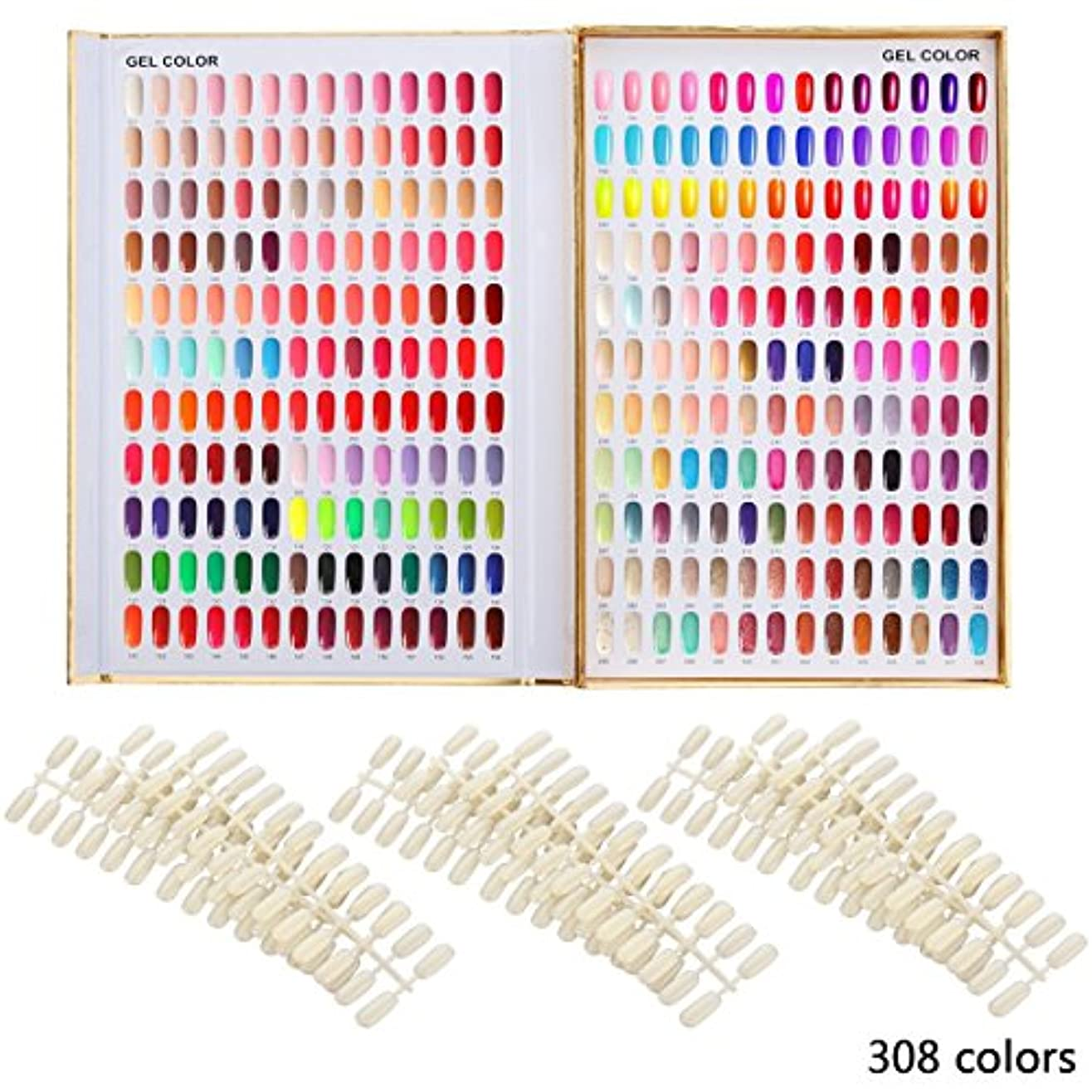 サルベージ組み立てる影響するカラーチャート ブック ネイルマニキュアカラー色見本 120色/216色/308色 サンプル帳/色見本帳 ゴールデン (308)