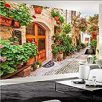 Xbwy 3D壁紙ヨーロッパスタイル街の通り花パス風景写真壁の壁画カフェレストランリビングルームの背景壁の装飾-350X250Cm