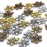 雪の結晶 【チャーム 30個セット】 シルバー 金古美 ゴールド ハンドメイド用 ネイル アクセサリー デコ レジン などに