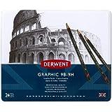 DERWENT(R) 34202 Graphic Set Tin 24 (All Grades), Full range (9B to 9H)