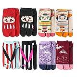 レディース 靴下 日本風 和テイスト 足袋ソックス ショート丈 8足セット くるぶし丈 足袋靴下 綿混 婦人 キャラクター柄