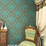 HaokHome 600906 不織布ヴィンテージブルー/ブロンズダマスク壁紙寝室の壁紙壁用53cm×10m(並行輸入品)