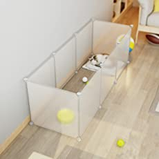 LANGRIA ペットフェンス ペットサークル ペット用ハイゲート 脱走防止柵 簡易フェンス 猫犬用 組立て式 設置簡単 継ぎ足し可能 エコ材質 カスタマイズ 軽量 持ち運び便利 半透明 8枚セット