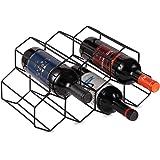 CMDREAM Black Metal Wine Rack Freestanding, Tabletop Wine Rack Holder, Countertop Wine Bottle Holder - Geometric Design for W