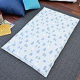 お昼寝布団 カバー 綿100% 敷き布団カバー 75×125cm くま サックス かわいい おひるね ファスナー