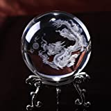 HDCRYSTALGIFTS Crystal 2.4 inch (60mm) Chinese Dragon Crystal Ball with Sliver-Plated Flowering Stand,Fengshui Glass Loong Ba