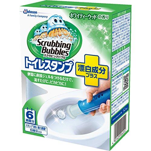 スクラビングバブル トイレ洗浄剤 トイレスタンプ 漂白成分プラス ホワイティーウッドの香り 本体 (ハンドル1本+付替用1本) 6スタンプ分 38g
