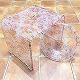 【New Decent Rose/M☆バスグッズ2点セット(Mセット)】優しい色使いのアクリル製バスチェア&洗面器(M)サイズ