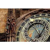 ArtzFolio Fragment Of Astronomical Clock Unframed Premium Canvas Painting 30.1 x 20inch