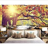 Wuyyii カスタム壁紙暖かい日差しの森の滝滝テレビの背景の壁の家の装飾の背景壁画3Dの壁紙-400X280Cm