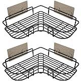 浴室ラック コーナーラック シャンプー調味料収納 防錆素材 2段式 強力粘着固定 15kg荷重 水切り 壁掛け棚 スパイ…