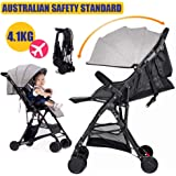 Baby Safe City Tour Stroller Carriage Pram Compact Lightweight Folding Toddler Strollers Carrier Travel Umbrella Jogger (Gray