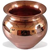 India G Copper Kalash Lota Pot, Puja Wedding Purpose Temple, Home and Perfect for Gift.Capacity 500 ML,100% Pure Copper Vesse
