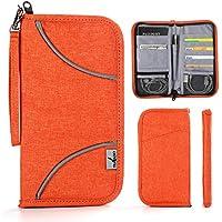 Travel Passport Wallet - VIVEFOX RFID Passport Bag/Travel Document Organizer - Orange