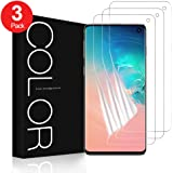 G-Color Screen Protector for Samsung Galaxy S10, 3-Pack [Case Friendly] Wet Applied Flexible TPU Film [Not Tempered Glass] HD