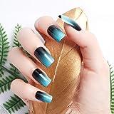 24pcs 12 Different Size Simple Gardient Blue Black Medium Length Square Full Cover False Nails with Design