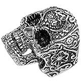 Flongo ステンレス リング メンズ 指輪 29MM クラシック ゴシック トライバル 髑髏 頭蓋骨 ドクロ スカル バレンタイン・ギフト ブラック&シルバー(銀)-[14号]