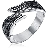 Antique Stainless Steel Men's Women's Feather Angel Wing Cast Black Silver Ring Band Comfort Fit Size 6-14