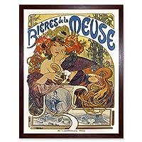 Beer Of The Meuse Paris France Vintage Art Print Framed Poster Wall Decor 12x16 inch ビールパリフランスビンテージポスター壁デコ
