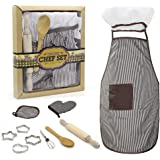 Kids Apron Set for Boys-Complete Children's Chef Set Baking Set with Chef's Apron, Cooking Mitt & Utensils - Recommended for