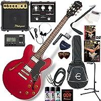 EPIPHONE エレキギター 初心者 入門 ギブソンES-335のエピフォン版 マルチエフェクターも入ってる!最強の20点セット Dot/CH(チェリー)