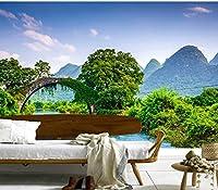 Bzbhart 3D壁画、中国川橋山自然、ホテルレストランリビングルームソファテレビ壁寝室-350cmx245cm
