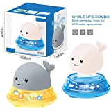 wentgo Baby Bath Toy, Floating Sprinkle Electric Induction Water Spray Toy Cute Water Spray Whale Bath Toy with LED Light for
