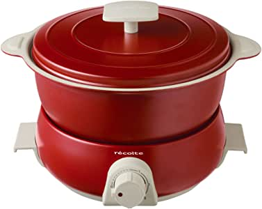récolte (レコルト)レコルト ポットデュオ フェット [ レッド/RPD-3 ] recolte POT DUO fete 電気鍋 マルチクッカー 赤 本体(収納時):(約)幅24.0×奥行22×高さ17.5cm