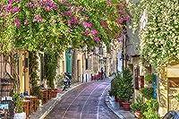 壁紙自己粘着キャンバス壁画壁壁画写真3Dモダンな家の装飾地中海の街路壁絵画アート装飾-400Cm(W)X280Cm(H)