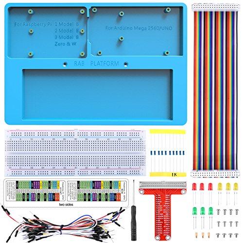 Kuman 7-in-1 arduino/Raspberry Pi用セット RABホルダー RPi GPIOボード+リボンケーブル+830点ブレッドボード ジャンパーワイヤー 抵抗 LED 初心者 電子工作 Arduino Uno R3 Mega 2560 & Raspberry Pi 3B/2B/1B+/Zero/Zero W対応 ラズベリーパイ SC23