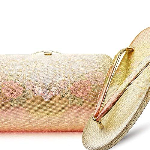 [振袖用] 高級帯地振袖草履バッグセット〈クラッチバッグタイプ〉《選べる2サイズ/2カラー》【金/銀/ゴールド/シルバー/留袖/訪問着/M/L/結婚式/結納/卒業式/入学式/成人式】 (Lサイズ, ピンク&ゴールド)