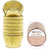 Gifbera Gold Foil Jumbo Cupcake Liners Metallic Large Muffin Baking Cups, 160-Count