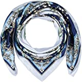 """corciova 35"""" Women Polyester Silk Feeling Hair Scarf for Sleeping Bell Orchid Dark Midnight Blue and White"""