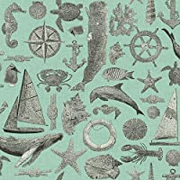 York Wallcoverings NY4821SMP Nautical Living Maritime Wallpaper Memo Sample, 8-Inch x 10-Inch, Aqua, Grey, Black by York Wallcoverings