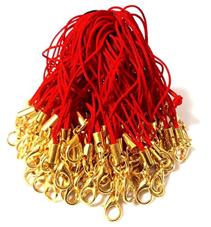 BeryKoKo ストラップ カニカン 付き 長め 5cm ヒモ 自作 アクセサリ 「 レッド ( 赤 ) × ゴールド ( 金 ) 」 約100本 正規品/30日間保証