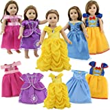 18 Inch Doll Clothes, 5 Pc Different Princess Costume Dress Set Includes Bella, Cinderella, Snow white, Mermaid and Aurora co